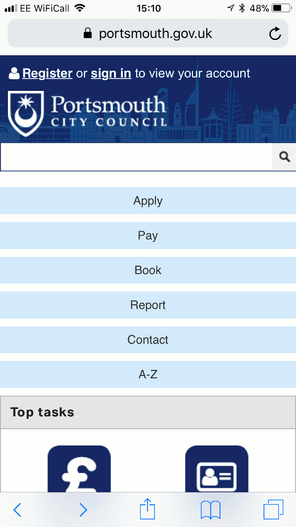 Homepage of Portsmouth City Council website as viewed on a mobile device
