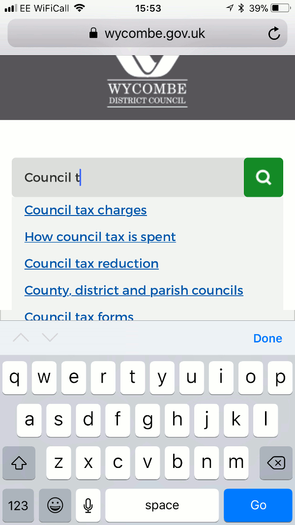 Search facility of Wycombe District Council website as viewed on a mobile device